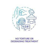 ícone de conceito gradiente azul sem tortura ou tratamento degradante vetor