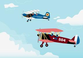 Retro biplano guerra voo fundo vetor illustraion