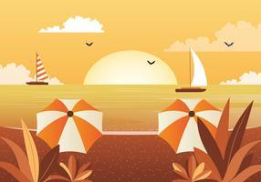 Vetorial, bonito, seascape, ilustração