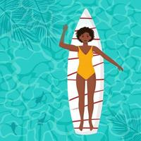 mulher afro-americana flutuando em uma prancha de surf vetor