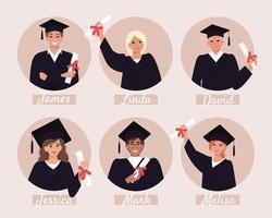 avatares de estudantes de graduação, álbum de formatura vetor