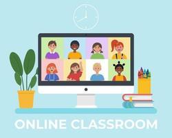 monitor de tela com videoconferência com crianças em idade escolar vetor
