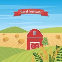 paisagem rural com casa de fazenda e espigas de trigo vetor