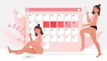 tema menstruação. Higiene feminina. vetor