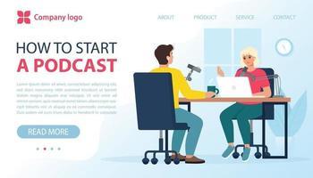 podcast em estúdio, blog, entrevistas, webinar, conceito de cursos online vetor