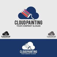 conjunto de modelos de design de logotipo para pintura em nuvem vetor