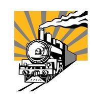 trem a vapor locomotiva sunburst design retro vetor
