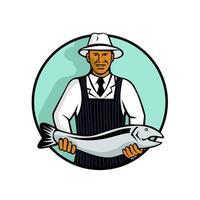 peixeiro segurando salmão vetor