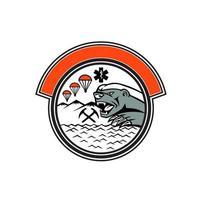 logotipo de resgate de montanha de texugo de mel vetor