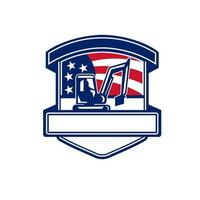 serviços de escavação com logotipo retrô do emblema da bandeira dos EUA vetor