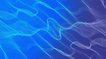 onda de equalizador de luz em fundo de onda sonora digital azul, design de conceito de superfície de partícula ondulada vetor