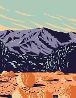 deserto dramático e dunas de areia de mojave trilhas monumento nacional vetor