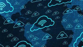 rede de nuvem conectando-se com ícone de wi-fi no fundo de tecnologia global vetor