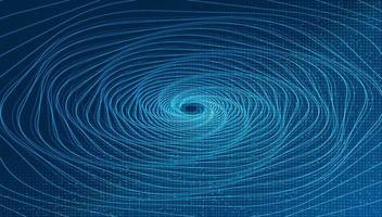 tecnologia de teletransporte espiral de dobra digital em fundo azul vetor