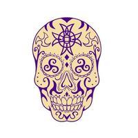 caveira mexicana com tatuagem de triskele e cruz celta vetor