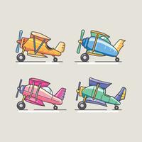 Coleção de aviões biplano bonito dos desenhos animados vetor