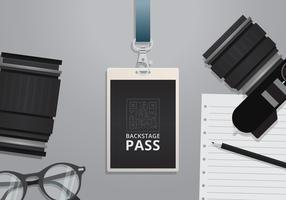 Modelo de cartão VIP Pass ID. Identidade vertical em branco realista com fita azul. Brincar. vetor