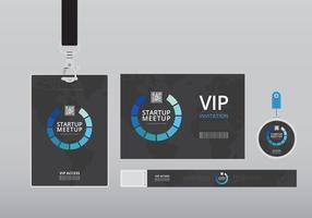 Modelo de cartão VIP Pass ID. Identificação vertical em branco realista com fita preta. Brincar. vetor