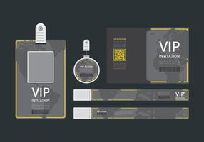 Modelo de cartão VIP Pass ID. Passe VIP para o modelo de evento. Identificação vertical em branco liso com linhas amarelas. Brincar. vetor