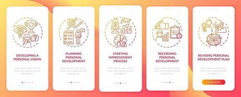 etapas de desenvolvimento pessoal tela vermelha da página do aplicativo móvel com conceitos vetor