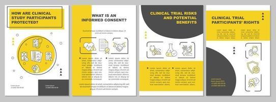 modelo de folheto de segurança de voluntário de estudo clínico vetor
