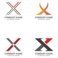 x carta logotipo modelo vetor ícone ilustração conjunto de design