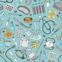 fundo azul sem costura com elementos médicos vetor