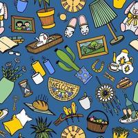 fundo azul com itens de interior coloridos vetor