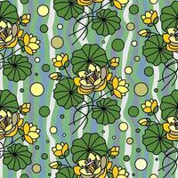 fundo ondulado sem costura com lótus amarelos vetor