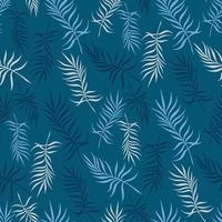 fundo azul com delicadas folhas de palmeira vetor
