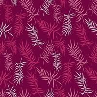 fundo carmesim com delicadas folhas de palmeira vetor