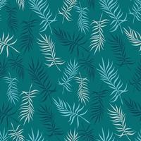 fundo turquesa com delicadas folhas de palmeira vetor