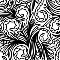 fundo branco sem costura com padrões pretos vetor