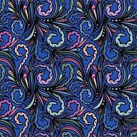 fundo azul sem costura com padrões coloridos vetor