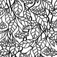 fundo branco sem costura com bagas pretas nos ramos vetor