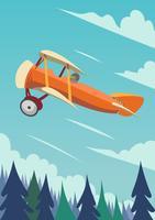 Fly biplano vetor