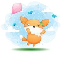 fofa doodle menina bebê raposa voando com pipas personagem de desenho animado vetor