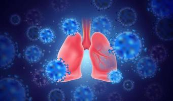 vetor pulmonar realista com vírus. ilustração em vetor eps10.
