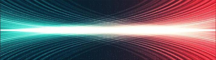 fundo de tecnologia de luz digital de panorama, design de conceito de onda sonora e digital de alta tecnologia, espaço livre para texto colocado, ilustração vetorial. vetor