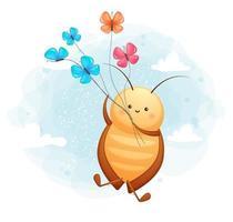 barata doodle fofa com personagem de desenho animado de borboleta vetor