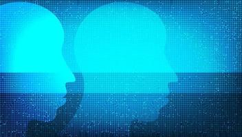 fundo de tecnologia de inteligência artificial digital, conceito de inteligência e cérebro. vetor