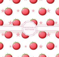 padrão sem emenda de tomate bonito. padrão vegetal fofo vetor