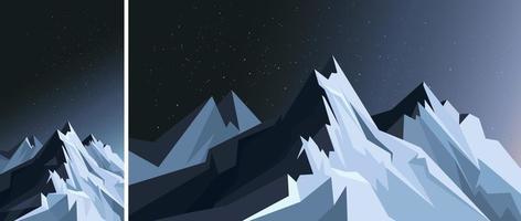 montanhas ao luar. cenário da natureza na orientação vertical e horizontal. vetor