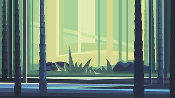 bela floresta de bambu. vetor