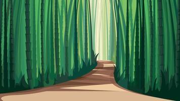 estrada na floresta de bambu. vetor