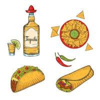 conjunto de comida mexicana desenhada à mão vetor