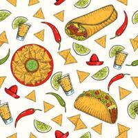 padrão sem emenda com comida mexicana desenhada à mão vetor