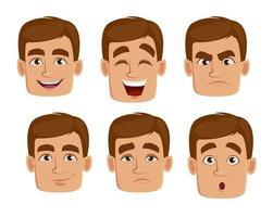 expressões faciais de homem com cabelo castanho vetor
