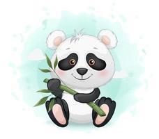 pequeno panda fofo segurando bambu vetor