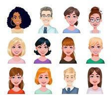 avatar sorridente de empresários em estilo simples vetor